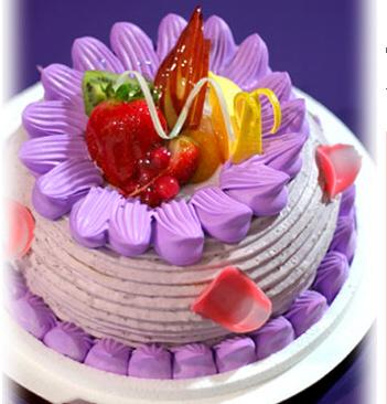 双层欧式水果蛋糕紫色